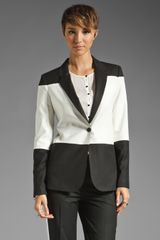 Elizabeth And James Colorblock Blazer in Blackivory - Lyst