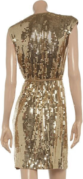 Michael Michael Kors Sequined Jersey Wrap Dress In Gold Lyst