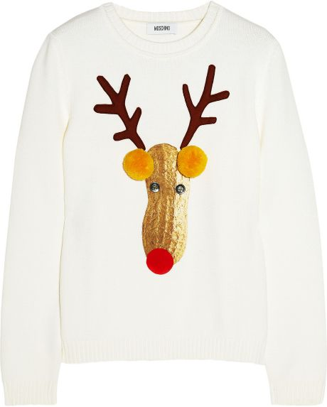 Moschino Reindeer Appliquéd Knitted Wool Sweater in White - Lyst