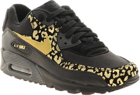 Nike Air Max 90 08 Gold Leopard Trainers in Black (blackgold)