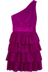 Notte By Marchesa Tiered Crinkled Silk and Jersey Dress - Lyst