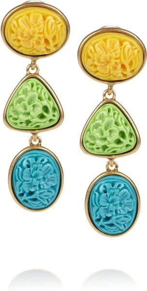 Oscar De La Renta 24karat Gold-Plated Carved Cabochon Clip Earrings in Multicolor (gold) - Lyst