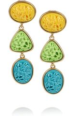 Oscar de la Renta 24karat Gold-Plated Carved Cabochon Clip Earrings - Lyst