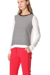 Tibi Sporty Mesh Intarsia Knit Sweater in White (ivory) - Lyst