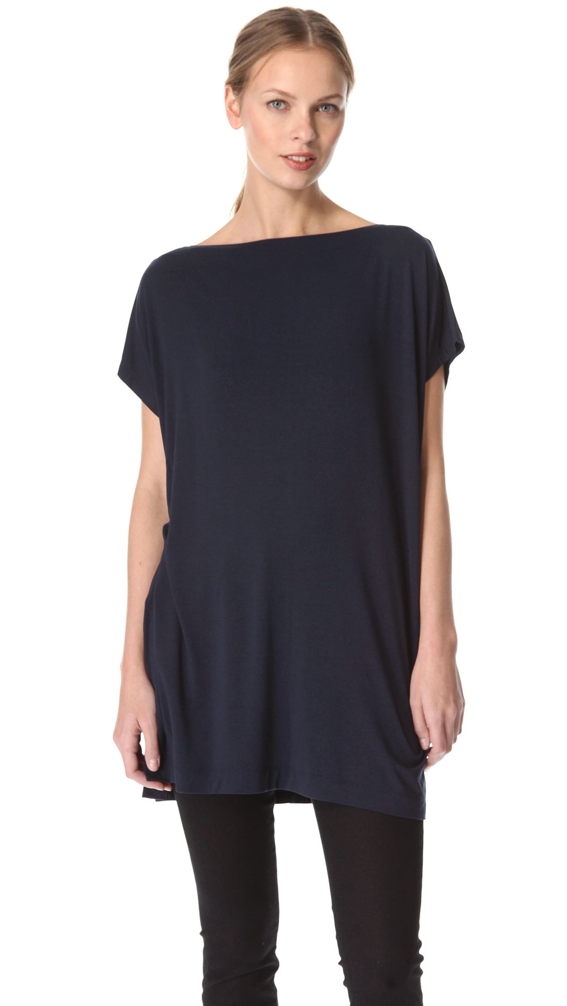 Vince tunic tee in blue lyst for Vince tee shirts sale