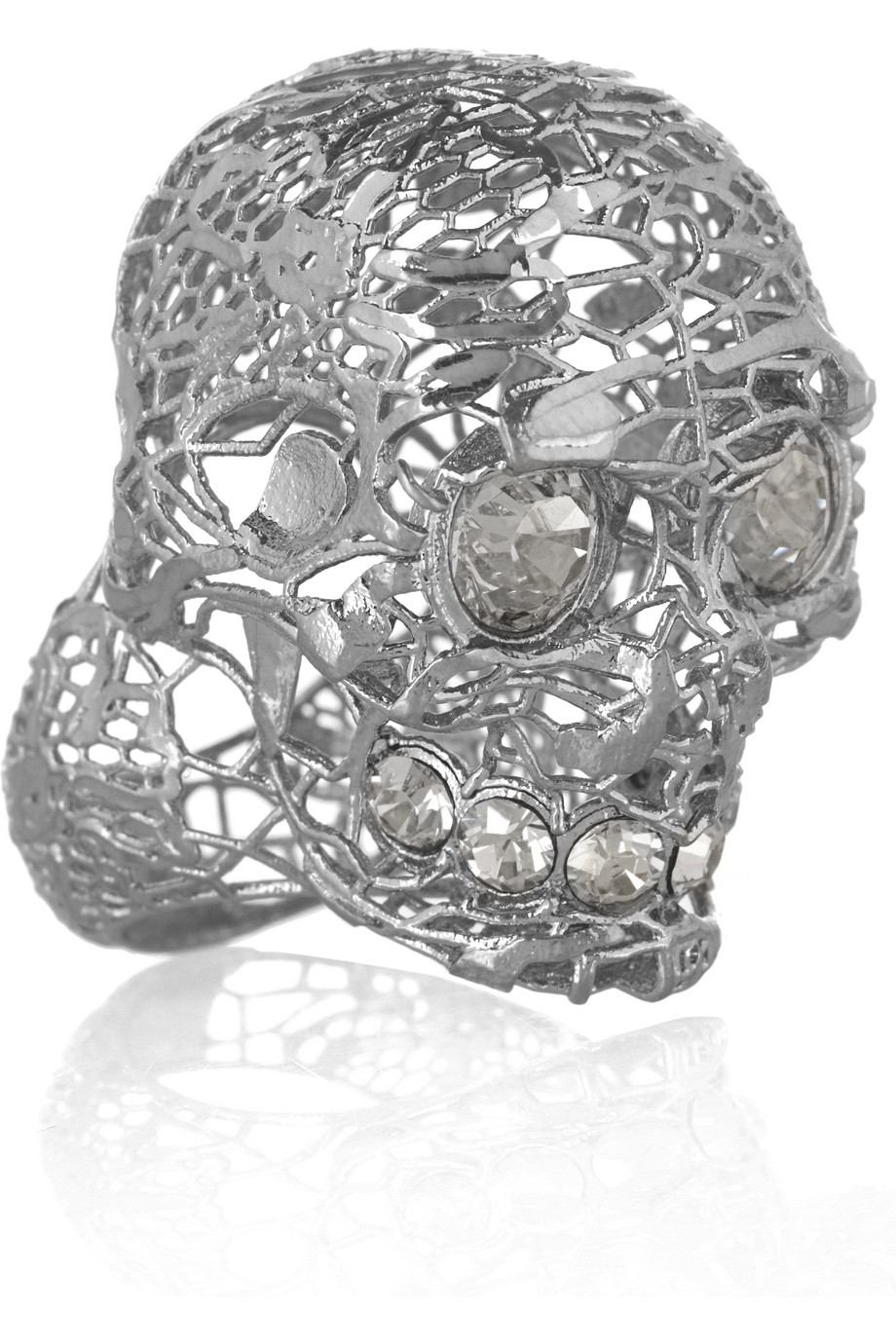 e3878b8d38af4 Alexander McQueen Silver Plated Swarovski Crystal Skull Ring in ...