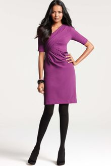 Ann Taylor Petite Draped Textured Knit Jacquard Dress - Lyst