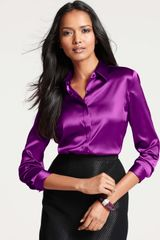 Ann Taylor Petite Silk Legacy Button Down Blouse - Lyst