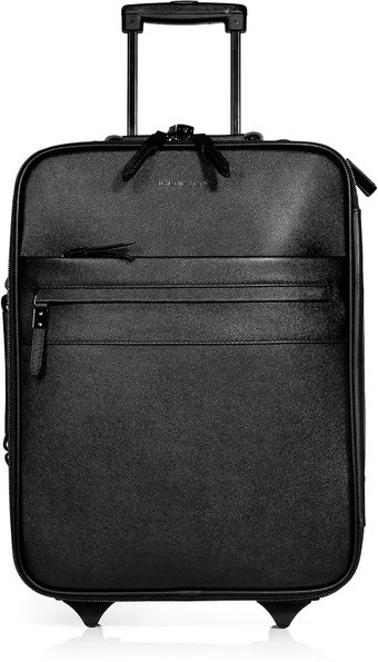 Burberry Black Textured Leather Carryon Suitcase - Lyst
