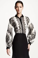 Carolina Herrera Lace Striped Blouse - Lyst