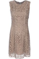 Dolce & Gabbana Sleeveless Lace Dress in Gold - Lyst