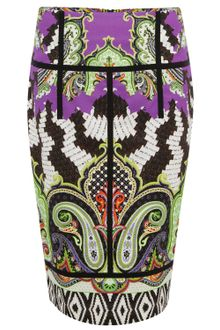 Etro Green Printed Pencil Skirt - Lyst