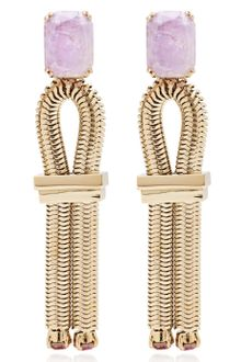 House Of Lavande Jeweled Knot Purple Amethyst Loop Earrings - Lyst