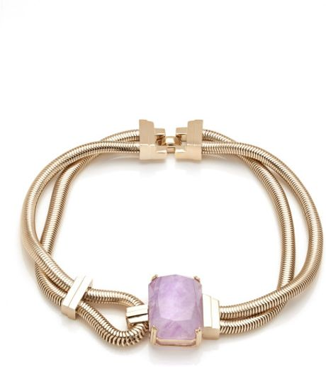 House Of Lavande Jeweled Knot Purple Amethyst Loop Necklace in Purple (light gold) - Lyst