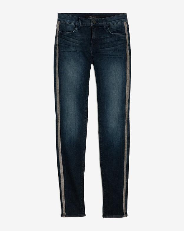J Brand Kacie Midrise Leather Tuxedo Stripe in Blue (denim ...