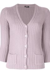 Jil Sander Navy Ribbed Double Pocket Cardigan - Lyst