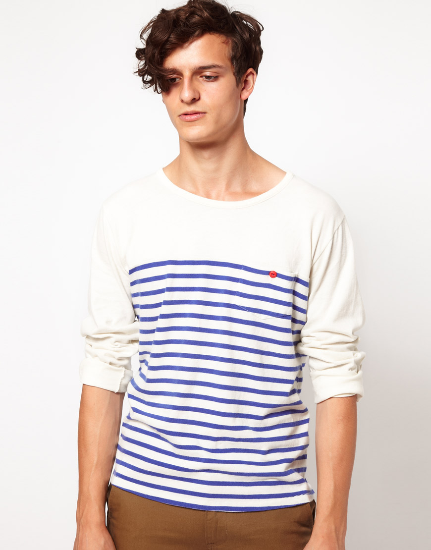 Levi 39 s levis made crafted long sleeve breton top in white for Levis made and crafted shirt