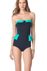 Marc By Marc Jacobs Colorblock Peplum One Piece Swimsuit - Lyst