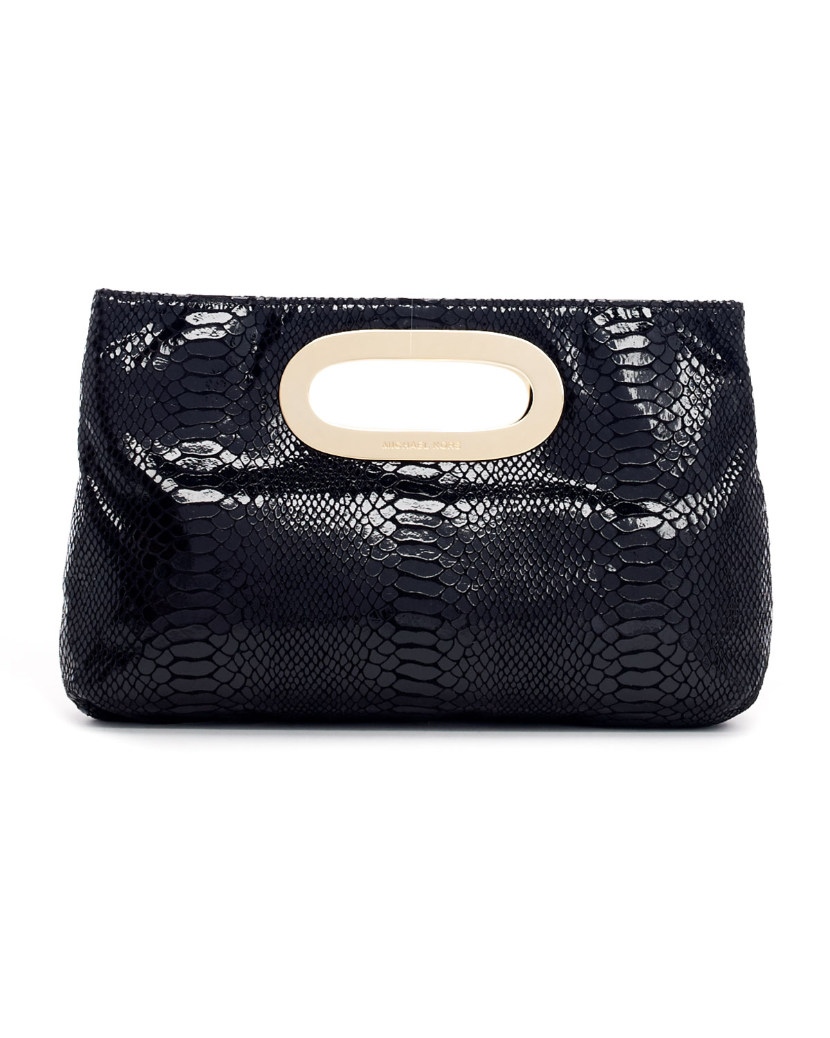 michael michael kors berkley patent pythonembossed clutch bag in black lyst. Black Bedroom Furniture Sets. Home Design Ideas