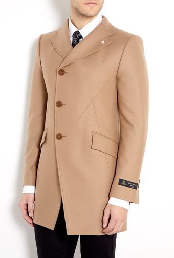 Vivienne Westwood Camel Melton Assymetric Button Top Coat - Lyst