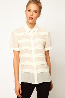 ASOS Collection Asos Blouse with Pintuck Front and Covered Buttons - Lyst