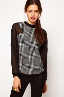 ASOS Collection Asos Sweatshirt with Dogtooth Panel - Lyst