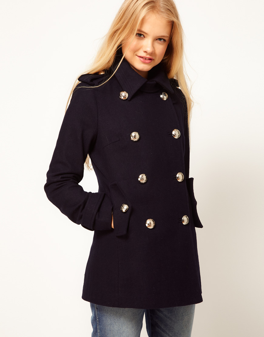 Asos collection Asos Reefer Military Coat in Blue | Lyst