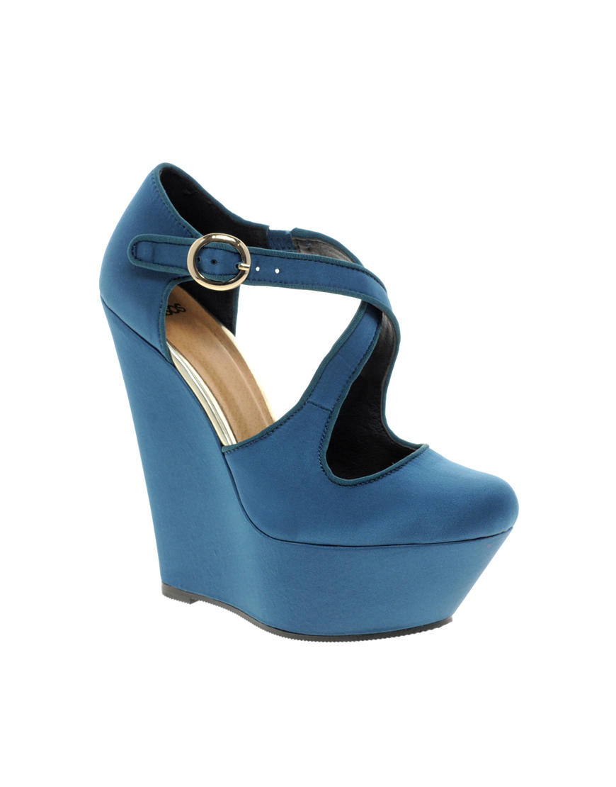 d3ec4040ebf ON SALE! Patience cross strap wedges by ASOS Collection in blue