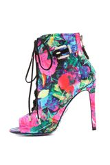 B Brian Atwood Linford Floral Booties in Multicolor (pink) - Lyst