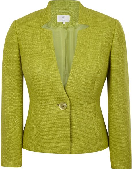 Cc Elegant Tailored Jacket Cut From Textured Fabric in Green (cactus)