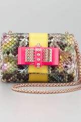 Christian Louboutin Sweet Charity Python Bow Clutch Bag - Lyst