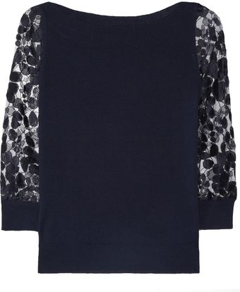 Erdem Rose Merino Wool and Lace Sweater - Lyst