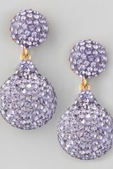 Jose & Maria Barrera Pave Crystal Doubledrop Earrings Lavender - Lyst