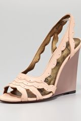 Lanvin Scalloped Leather Slingback Wedge Sandal Rose - Lyst