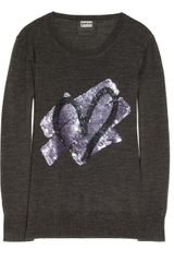 Markus Lupfer Heart Sequin Embellished Merino Wool Sweater - Lyst