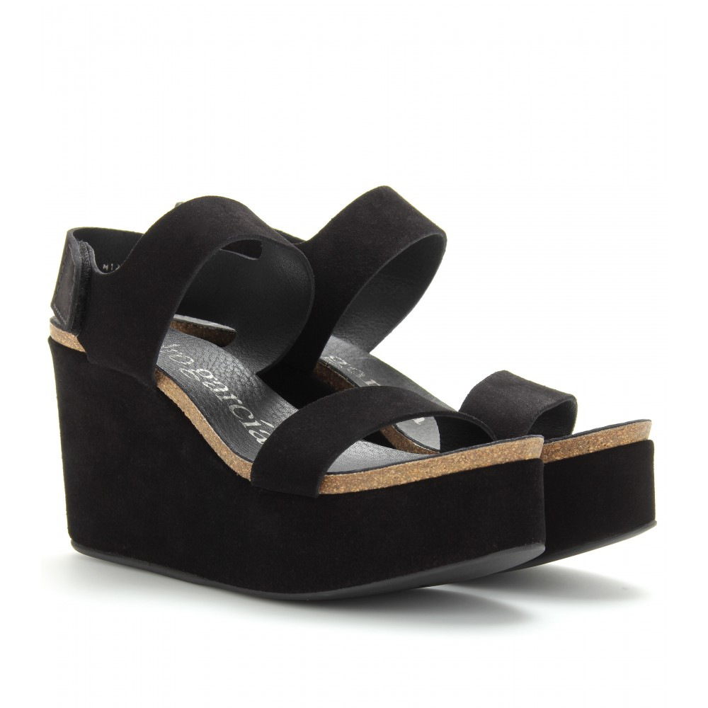 Pedro garcia Dakota Platform Wedge Sandals in Black | Lyst