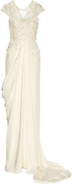 Temperley London Laelia Floralappliquéd Silk Crepe De Chine Gown in White (floral) - Lyst