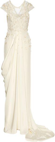 Temperley London Laelia Floralappliquéd Silk Crepe De Chine Gown in White (floral)