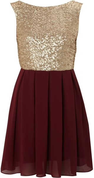 Tfnc Sequin Sarah High Low Dress in Gold