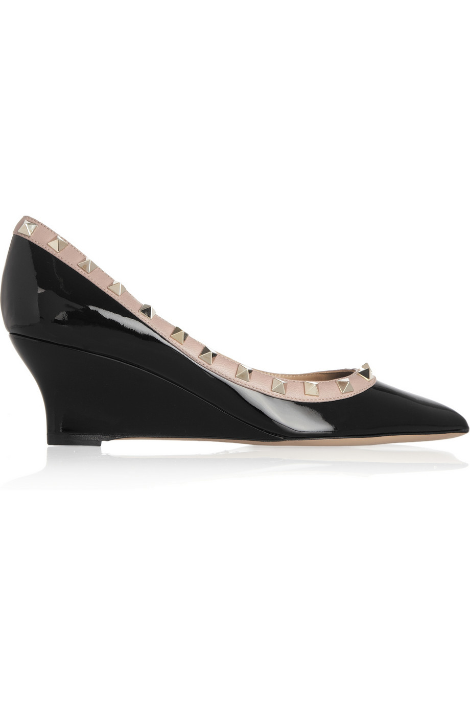 5d3163b66c00 Valentino Studded Patentleather Wedge Pumps in Black - Lyst