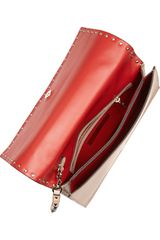 Valentino Rockstud Leather Clutch in Pink (blush) - Lyst