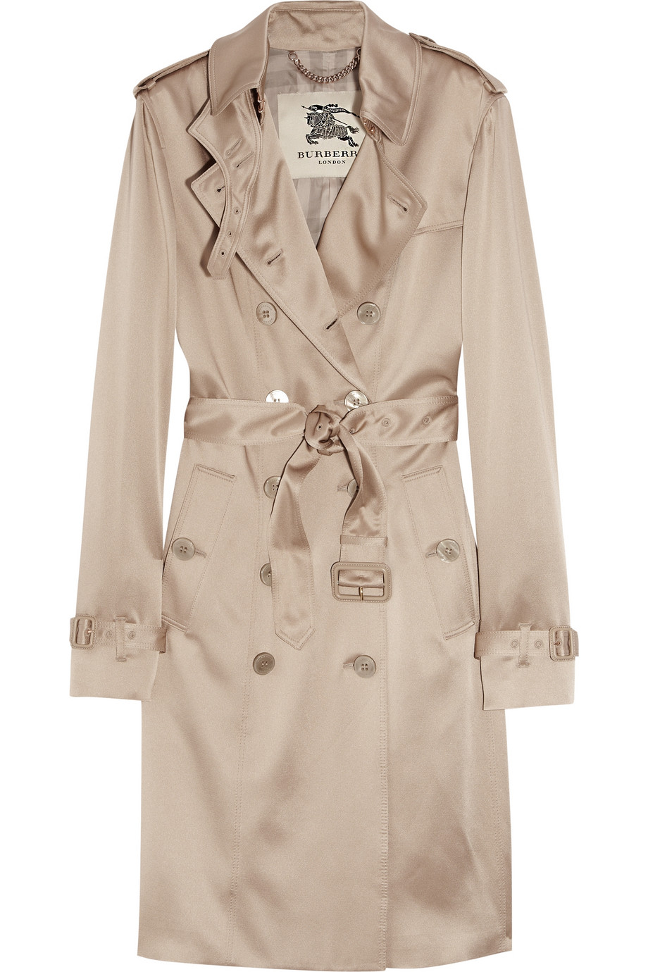 Lyst Burberry Silk Crepe De Chine Trench Coat In Natural