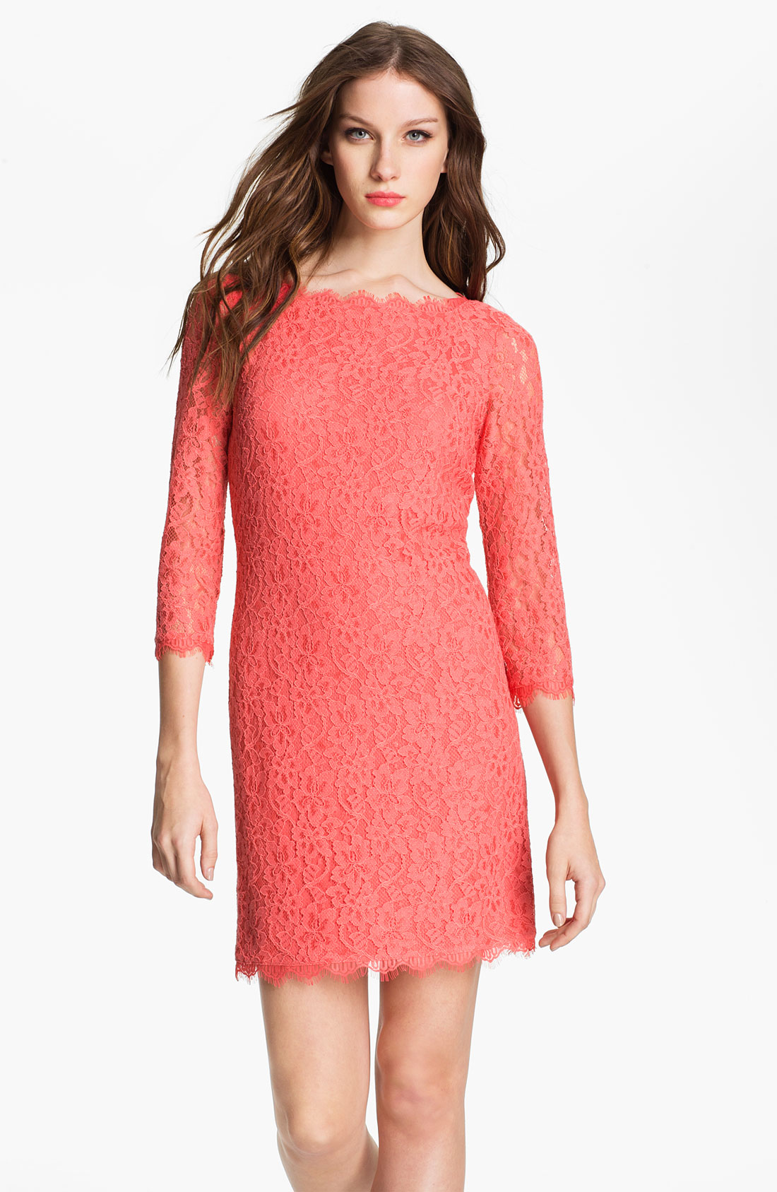 Dvf Red Lace Dress View Fullscreen
