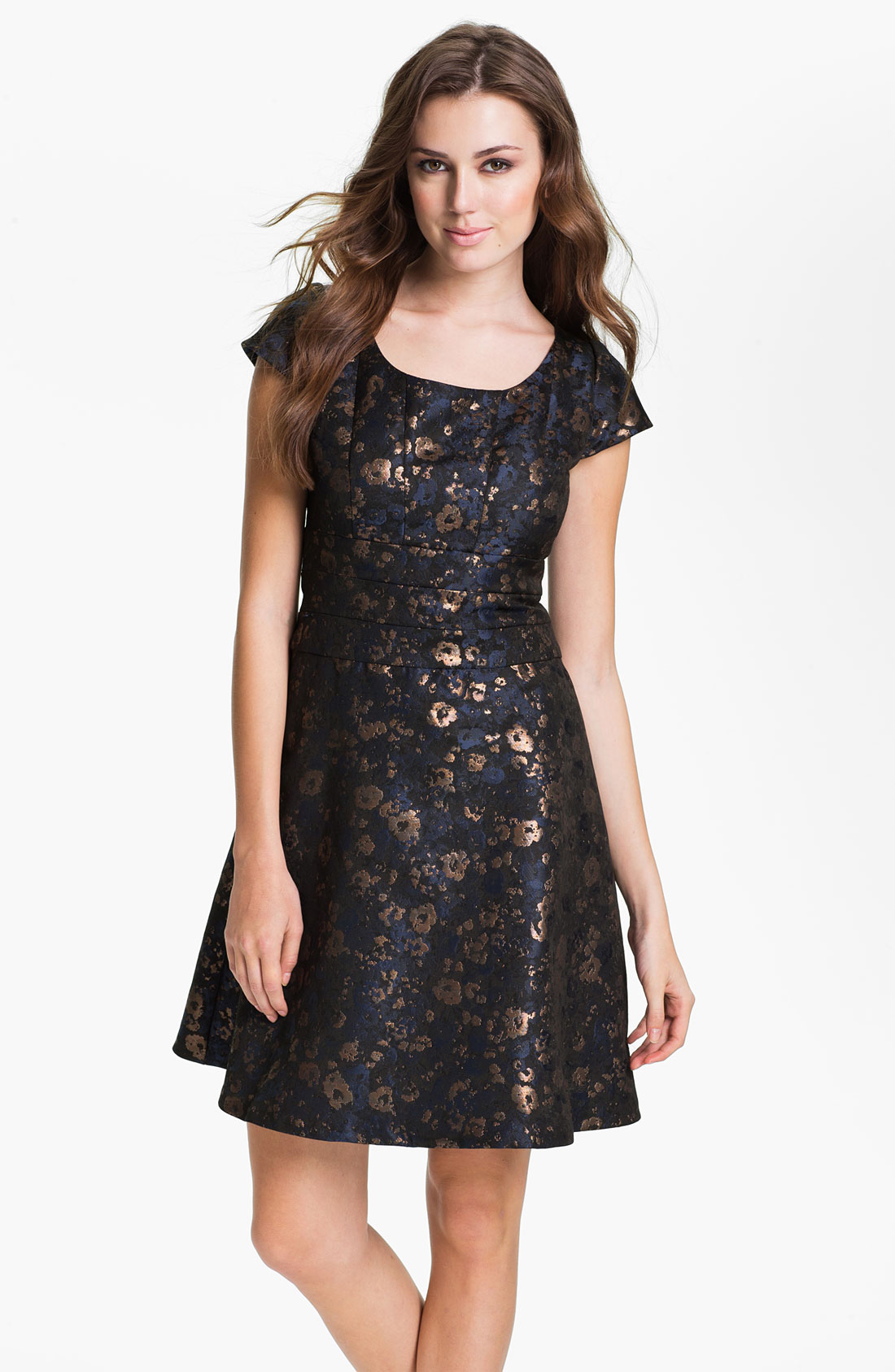 Donna Ricco Short Sleeve Brocade Fit Flare Dress In Black