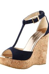 Jimmy Choo Pela Suede Cork Wedge Sandal - Lyst
