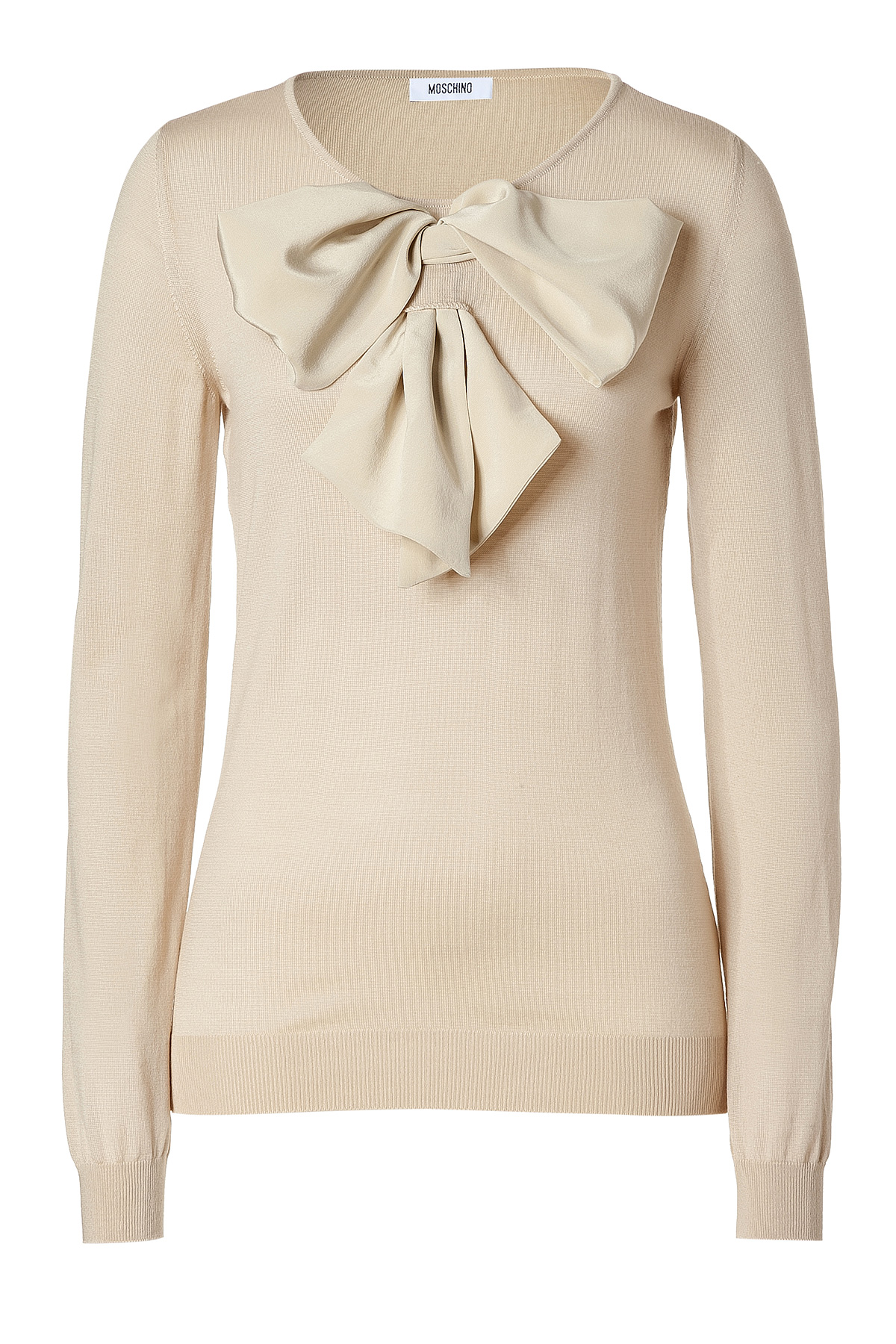moschino beige big bow embellished wool pullover in natural lyst. Black Bedroom Furniture Sets. Home Design Ideas