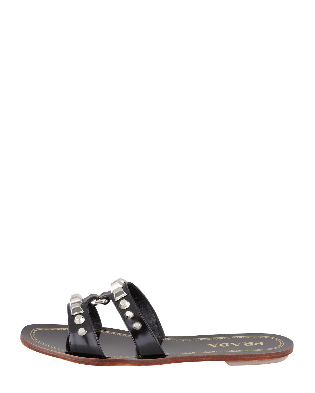 71f9425117c3 Lyst - Prada Studded Hstrap Flat Sandal Black in Black
