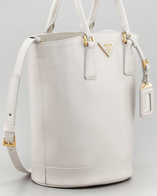 Prada Saffiano Vernice Bucket Bag Talco in White (talco) | Lyst