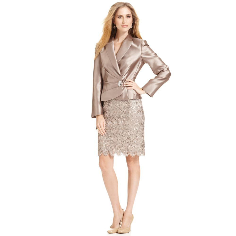14bfe69cba10 Tahari Satin Jacket Lace Skirt Suit in Metallic - Lyst