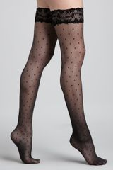 Wolford Silver Glam Stayup Stockings - Lyst